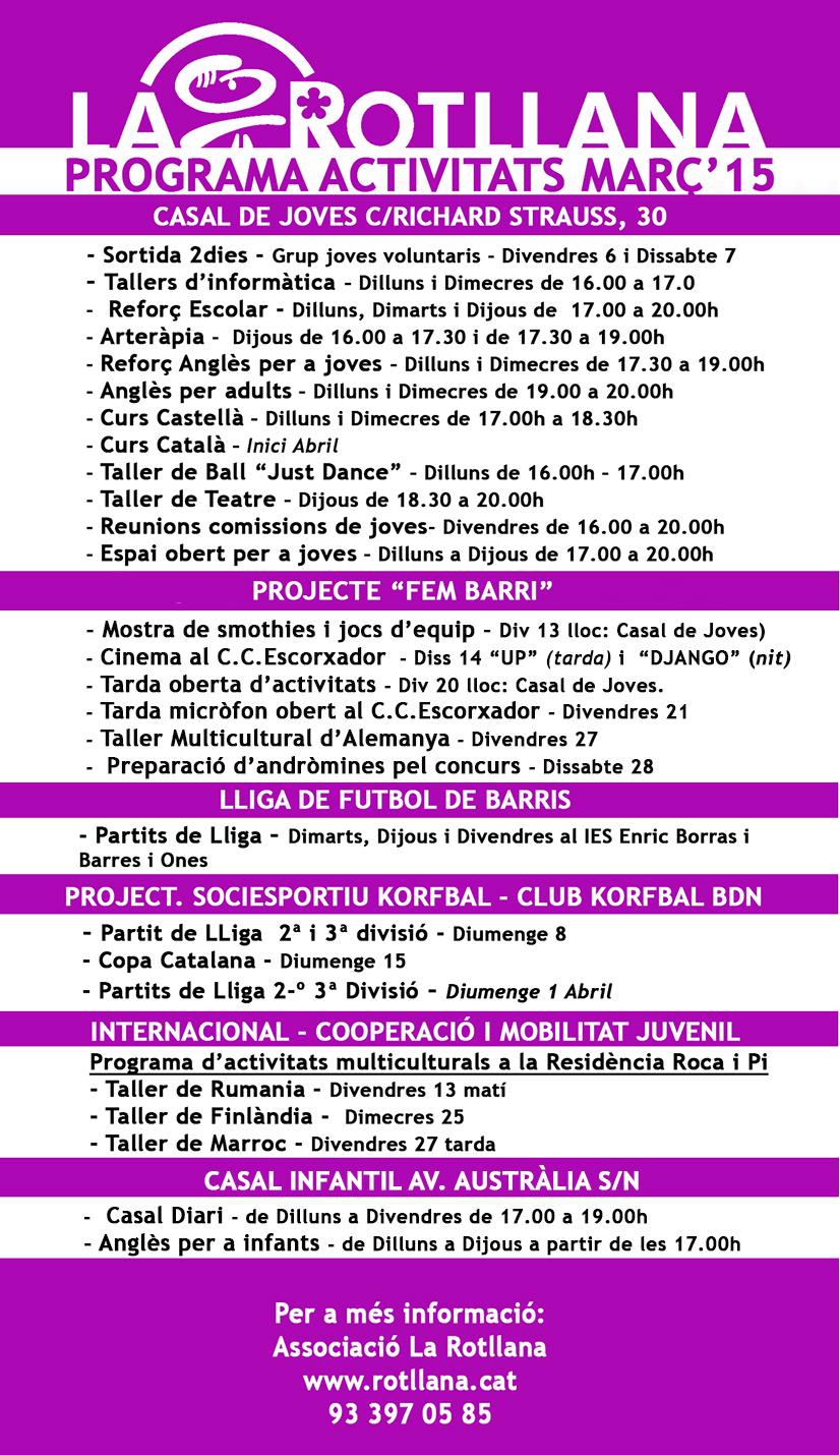 programa activitats març